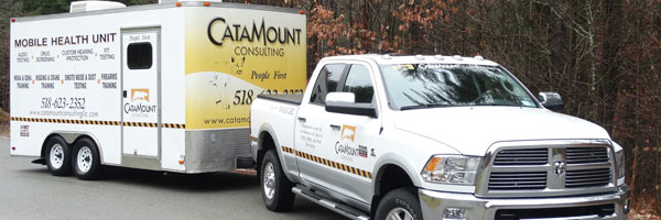 The Catamount Mobile Hearing trailer can visit worksites throughout the Northeast United States, including New York, Vermont, Massachusetts, and Pennsylvania